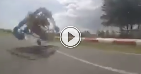 Video of an insane go kart driver flying off the road.