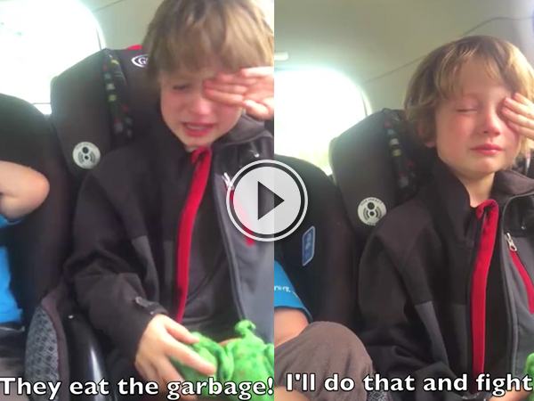 Video grab of a little boy angry about how we treat planet Earth.