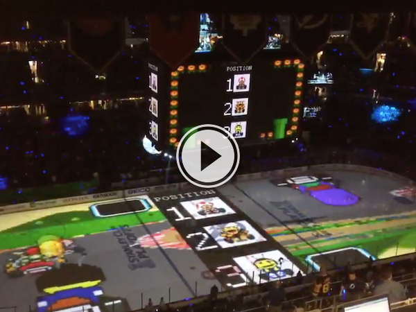 Tampa Bay fans use the ice to play Mario Kart during intermission (Video)