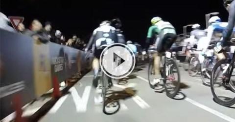 Massive bike race pile up (Video)