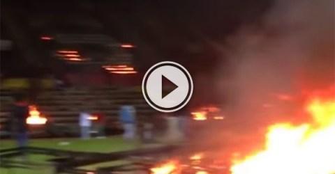Turkish fans burn down old stadium (Video)