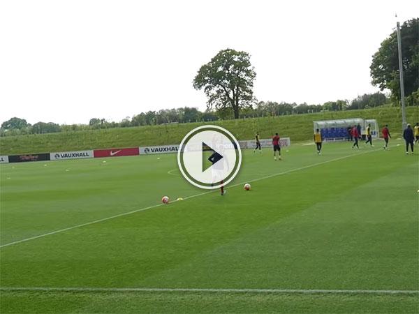 Teenager crashes England training (Video)