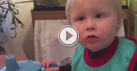 A kid with blonde hair sits on the chair next to a table and inquisitively looks on!