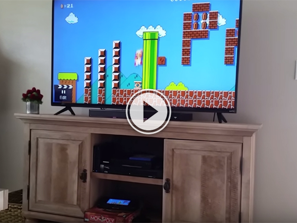 video grab of the Super Mario game.