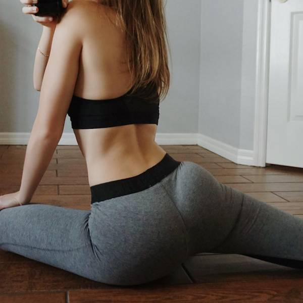 Girl in sexy grey yoga pants, shows off her perky ass