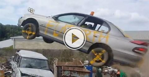 Car jumps trash in Australian junkyard (Video)