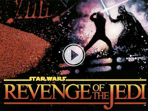 A 'Star Wars- Revenge of the Jedi' poster showing Darth Vader fighting a person with a light saber!