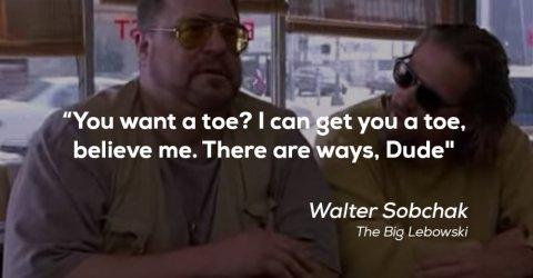 John Goodman and Jeff Bridges talking in a restaurant in the movie The Big Lebowski!