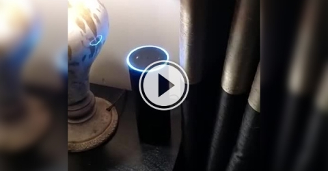 Video of a blue LED on a table .