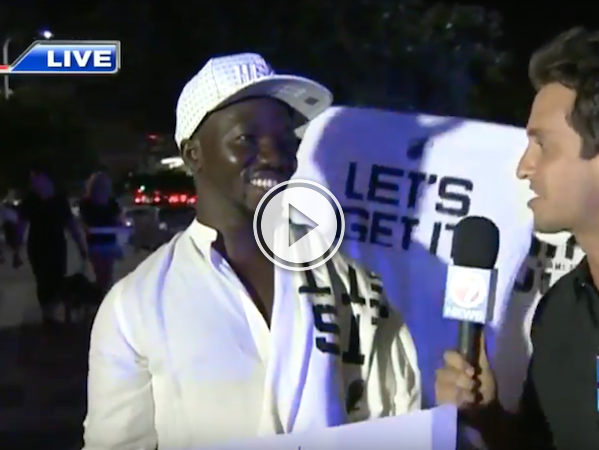 When you put a fan on live tv, you never know what you're gonna get! (Video)