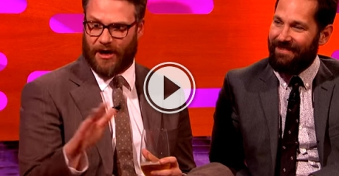 """On The Graham Norton Show Seth Rogan says """"It's bad to be blamed for almost starting a war!"""""""