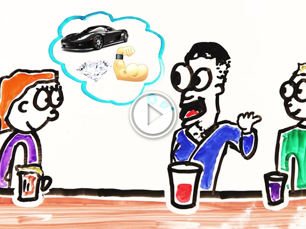 Two guys talking to a girl about diamonds, muscular body, and luxury sports cars in a bar! (cartoon)