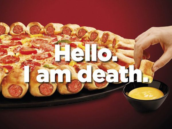A pizza kept beside a cheese dip. Image quotes it as'Hello. I am Death'.