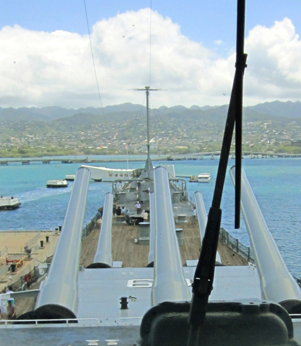 View from the top as a battleship approaches land!