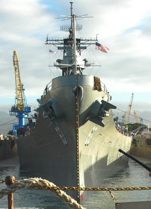 An American battleship moored at the docks