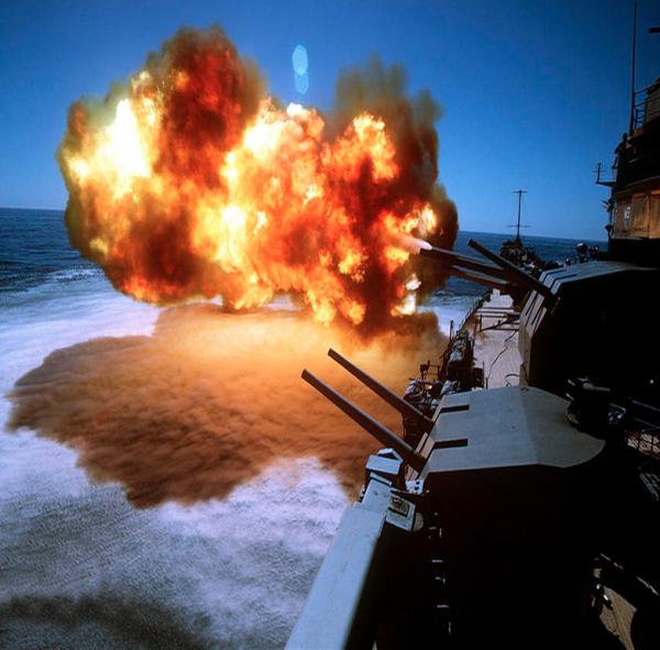 A cloud of fire created from a warship's firing guns!