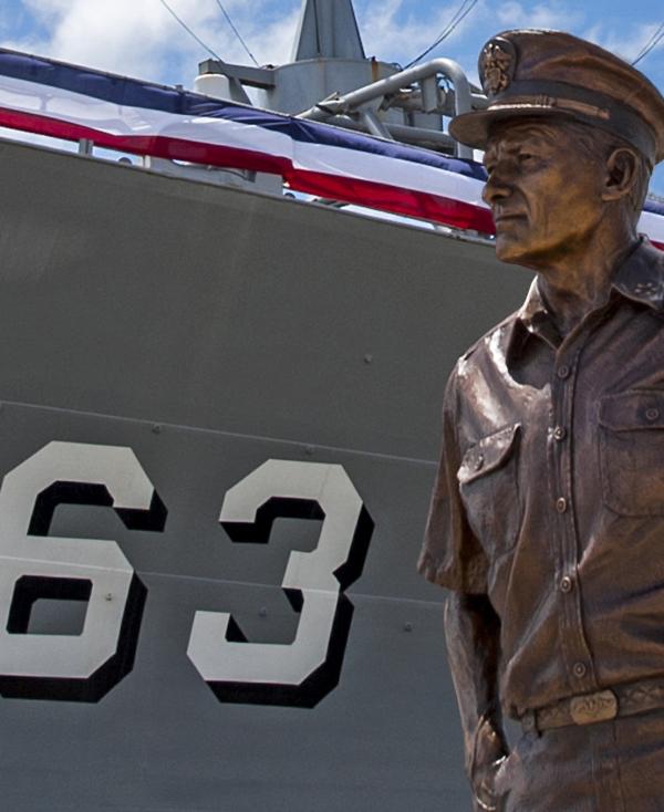Bronze statue of a vet in uniform!