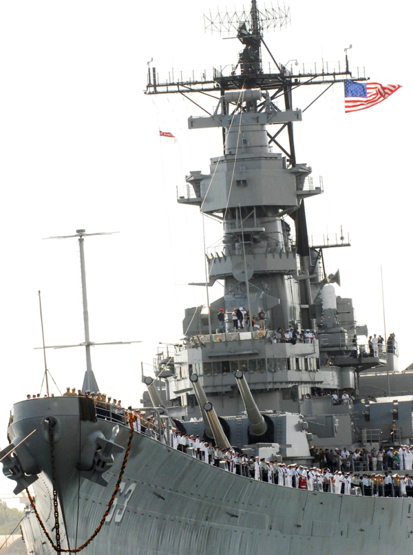 An American warship with people in uniform!