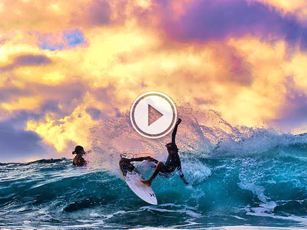 Screenshot of the video of a surfing in the ocean