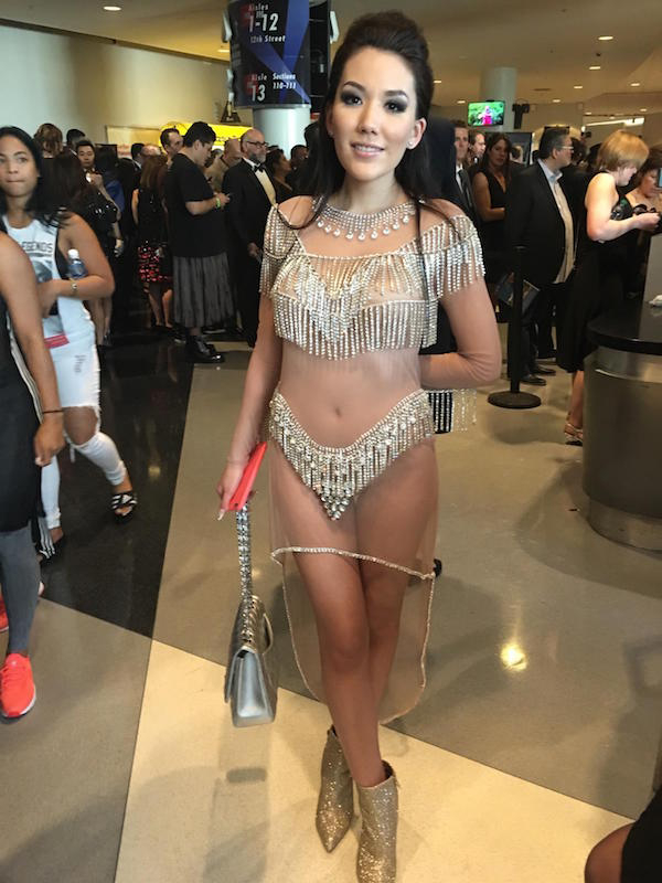 Cute brunette flaunts her cute body in sheer white see-through dress with beaded frills