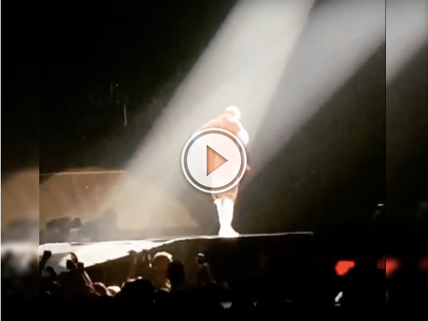 Bieber falls into a hole on stage in Sask; is regretfully, ok (Video)
