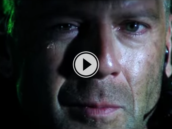 screenshot of video of Bruce Willis armageddon crying
