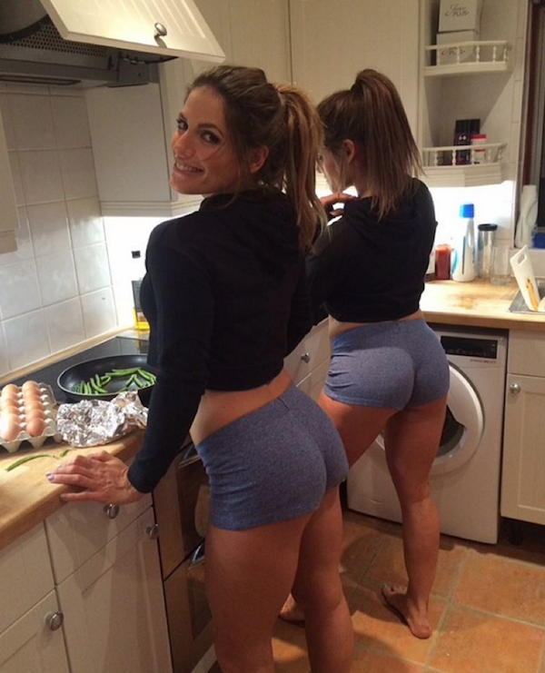 Voluptuous women flaunt their round supple butt cheeks and sexy legs in black tops and grey short shorts