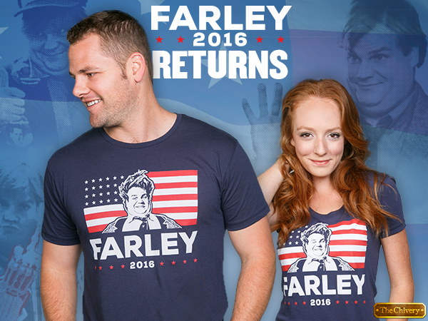 A dude and dudette in Chris Farley blue tees.