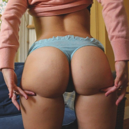 Girl in red tee and blue panties plays with big juicy supple butt cheeks (gif)