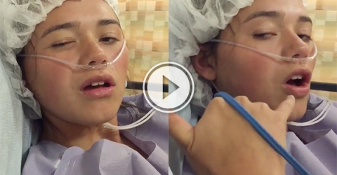 funny girl in a odd conversation after having a knee surgery.(video)