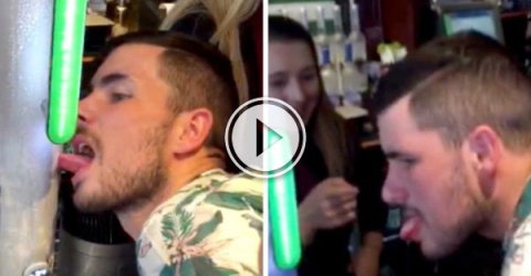 Lad Gets Tongue Stuck On Beer Pump (Video)