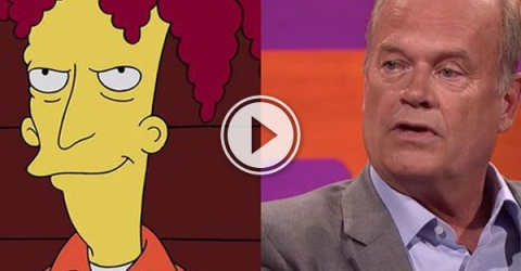 Sideshow Bob and Kelsey Grammer in grey jacket.