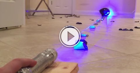 A beam of laser popping all the balloons in its way. (Video)
