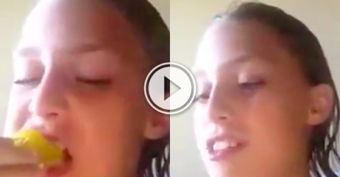 Girl eats a pepper and her eyes get sprayed with its juice.