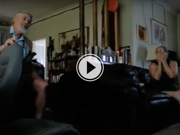 Grandpa and grandma have some NSFW comments at a gender reveal! (Video)