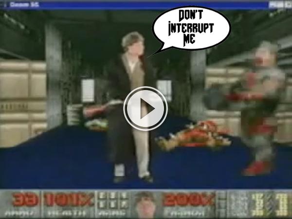 Video of Bill Gates Shotgun a Demon in a Vintage DOOM Promo