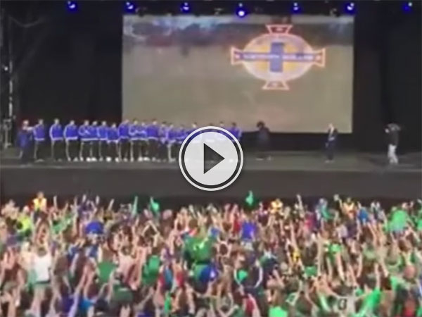 Will Grigg chant by Northern Ireland fans on his return (Video)