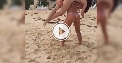 Voluptuous babes with juicy bouncy butt cheeks horse around at beach in tie-dye bikinis