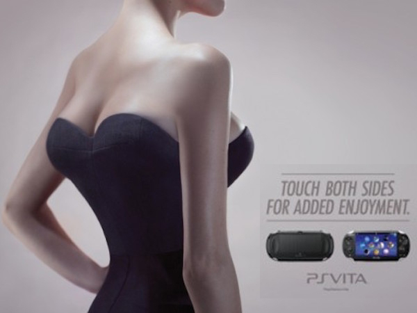Funny ad of the handheld PS VITA showing a girl with boobs on her back as well, with the caption 'touch both sides for added enjoyment'.