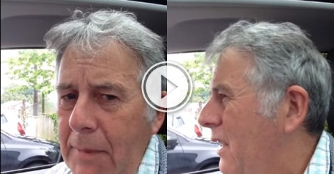 An old man in car.