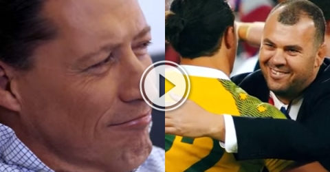 Man hugging a player on ground.(video )
