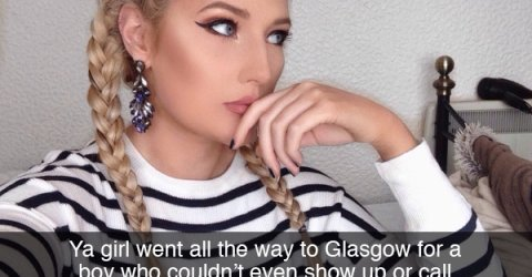 Image of a girl in strip top and braids labelled that she went all the way for someone who didn't show up