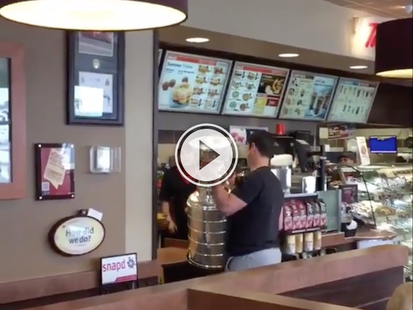 Win a Stanley Cup, grab a double double! (Video)