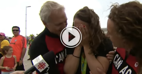 What's better than winning a medal? Seeing your parents again... (Video)