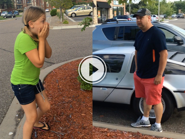 Little girl gets surprised with a DeLorean (Video)