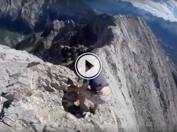 This narrow ridge in Alberta is the realm of nopes! (Video)