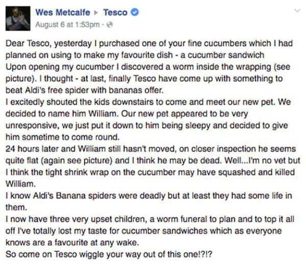 man discovers dead worm tesco cucumber funeral 0 Man discovers dead worm in Tesco cucumber, holds funeral, and gives proper sendoff (13 Photos)