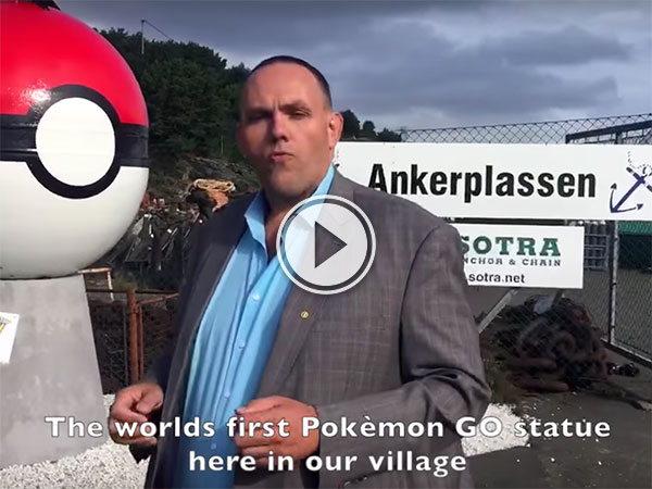 Norwegian village builds statue to get Pokestop (Video)