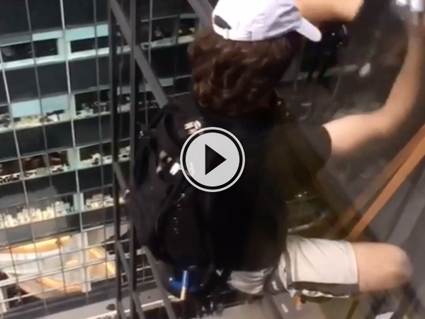 Footage of the man who scaled Trump Tower from inside the building