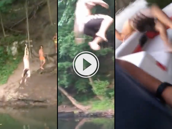 Rope swing on to boat goes terribly wrong (Video)